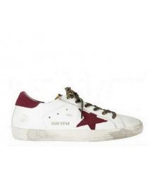 Женские кеды Golden Goose (Золотой Гусь) Superstar кожаные с красной звездой леопардовыми шнурками White/Red