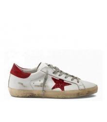 Женские кеды Golden Goose (Золотой Гусь) Superstar кожаные с красной звездой White/Red