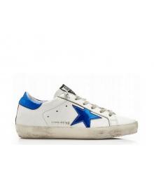 Женские кеды Golden Goose (Золотой Гусь) Superstar кожаные с синей звездой White/Blue