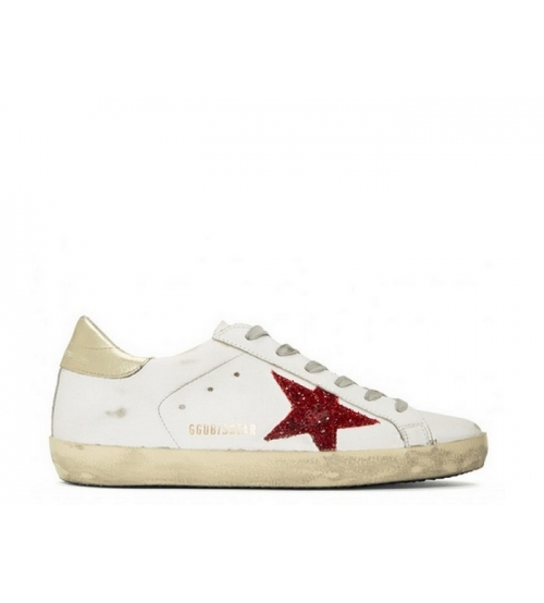 Женские кеды Golden Goose (Золотой Гусь) Superstar кожаные со звездой White/Gold
