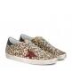 Женские кеды Golden Goose (Золотой Гусь) Superstar текстиль со звездой Leopard