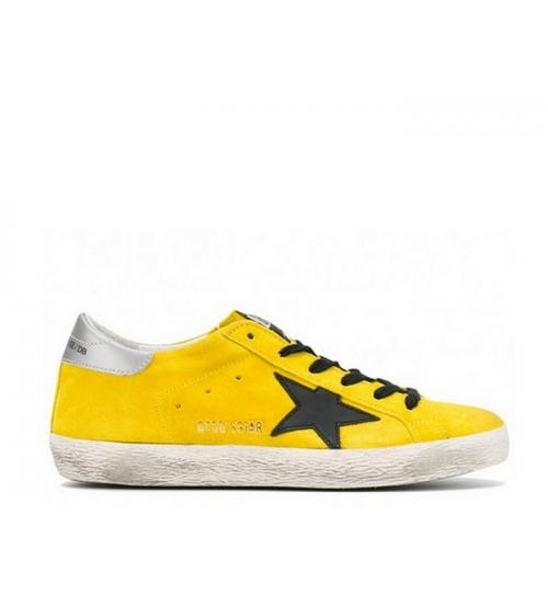 Женские кеды Golden Goose (Золотой Гусь) Superstar замшевые со звездой Yellow