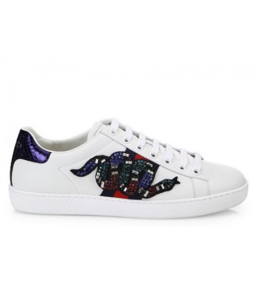 Женские кроссовки Gucci (Гуччи) Ace c кристаллами со змеей White ... 9e95212fa68