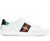 Кроссовки женские Gucci (Гуччи) Ace  кожаные c пчелой White/Green/Red