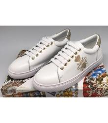 Женские кроссовки Gucci (Гуччи) Ace с рисунком пчелы White/Gold