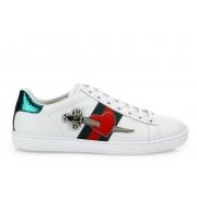Женские кроссовки Gucci (Гуччи) Ace c рисунком сердца White