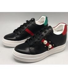 Женские кроссовки Gucci (Гуччи) Ace c шипами Black