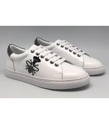 Женские кроссовки Gucci (Гуччи) Ace с вышивкой пчелы White