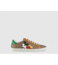 Женские кожаные кеды Gucci (Гуччи) Ace Disney Mickey Mouse Brown