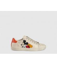 Женские кеды Gucci (Гуччи) Ace Disney Mickey Mouse кожаные на шнурках White