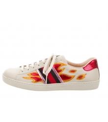 Женские кроссовки Gucci (Гуччи) Ace кожаные с вышивкой пламя White