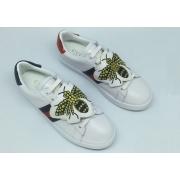 Женские кроссовки Gucci (Гуччи) Ace украшены принтом пчелы White