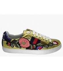 Женские кроссовки Gucci (Гуччи) Ace вышиты цветы Gold