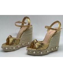 Босоножки женские Gucci (Гуччи) Barbette на танкетке Gold