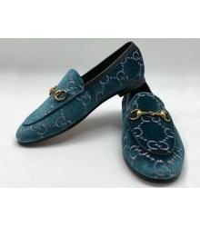 Женские лоферы Gucci (Гуччи) бархатные с логотипами Blue
