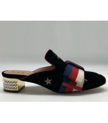 Женские лоферы Gucci (Гуччи) бархатные со звездами на каблуке Black