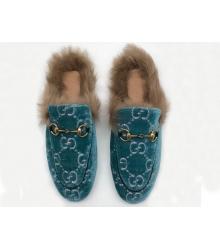 Женские лоферы Gucci (Гуччи) бархатные зимние с мехом Blue