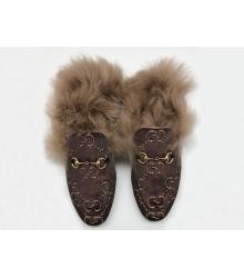Женские лоферы Gucci (Гуччи) бархатные зимние с мехом Brown