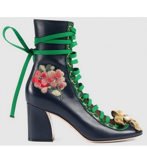 Ботильоны женские Gucci (Гуччи) Black\Green