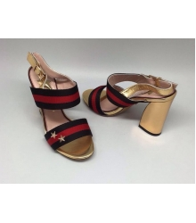Босоножки женские Gucci (Гуччи) Black/Red/Gold