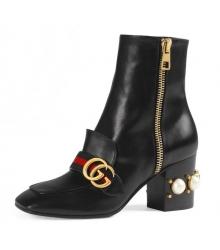 Сапоги женские Gucci (Гуччи) Black\Red/Gold