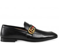 Лоферы мужские Gucci (Гуччи) брендовые кожаные Black
