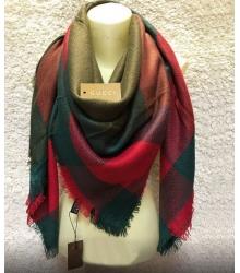 Палантин женский Gucci (Гуччи) брендовый шелк кашемир хлопок Green/Red/Beige