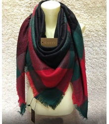 Платок женский Gucci (Гуччи) брендовый шелк кашемир хлопок Green/Red/Black