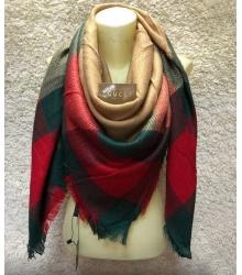 Платок женский Gucci (Гуччи) брендовый шелк кашемир хлопок Green/Red/Brown