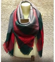 Платок женский Gucci (Гуччи) брендовый шелк кашемир хлопок Green/Red/Grey