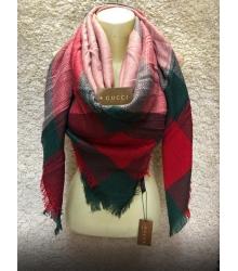 Палантин женский Gucci (Гуччи) брендовый шелк кашемир хлопок Green/Red/Pink