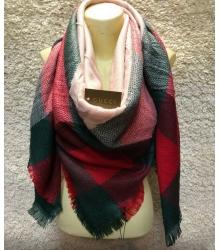Платок женский Gucci (Гуччи) брендовый шелк кашемир хлопок Green/Red/Pink