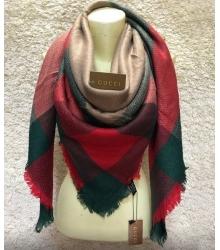 Платок женский Gucci (Гуччи) брендовый шелк кашемир хлопок Red/Green/Brown