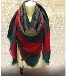 Платок женский Gucci (Гуччи) брендовый шелк кашемир хопок Green/Red