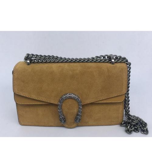Женская сумка Gucci (Гуччи) Dionysus кожаная Brown