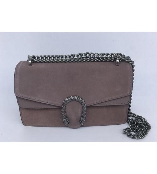 Женская сумка Gucci (Гуччи) Dionysus кожаная Grey
