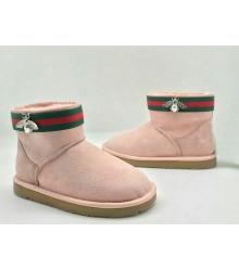 Угги женские Gucci (Гуччи) Everugg замшевые с пропиткой овчина Pink