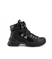Ботинки женские Gucci (Гуччи) Flashtrek high-top кожаные на шнурках Black