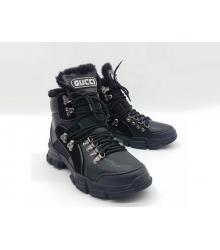 Зимние ботинки женские Gucci (Гуччи) Flashtrek high-top кожаные на шнурках Black