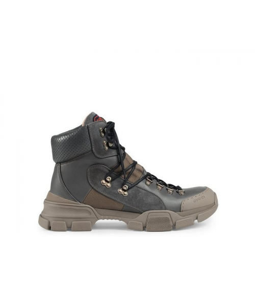 Ботинки женские Gucci (Гуччи) Flashtrek high-top кожаные на шнурках Gray