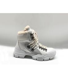 Ботинки зимние женские Gucci (Гуччи) Flashtrek high-top на меху кожаные на шнурках White
