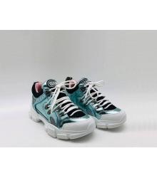 Женские кроссовки Gucci (Гуччи) Flashtrek кожаные на шнурках высокая подошва Blue
