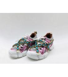 Женские кроссовки Gucci (Гуччи) Flashtrek кожаные на шнурках высокая подошва Pink