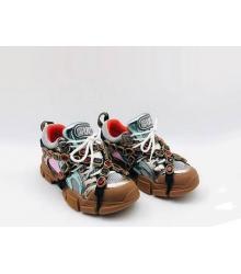 Женские кроссовки Gucci (Гуччи) Flashtrek кожаные со съемными ремнями-отделкой кристаллами Brown/Blue
