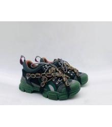 Женские кроссовки Gucci (Гуччи) Flashtrek кожаные со съемными ремнями-отделкой кристаллами Green