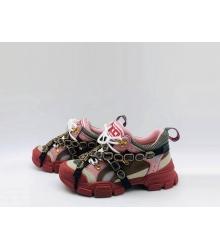 Женские кроссовки Gucci (Гуччи) Flashtrek кожаные со съемными ремнями-отделкой кристаллами Red/Pink