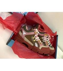 Женские кроссовки Gucci (Гуччи) Flashtrek LUX кожаные на шнурках высокая подошва Brown/Pink