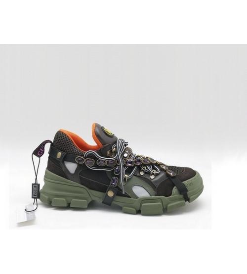 Женские кроссовки Gucci (Гуччи) Flashtrek со съемными ремнями-отделкой кристаллами Black/Green