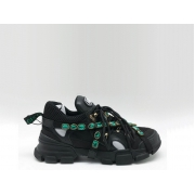 Женские кроссовки Gucci (Гуччи) Flashtrek со съемными ремнями-отделкой кристаллами Black