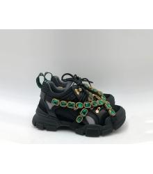 Женские кроссовки Gucci (Гуччи) Flashtrek кожаные со съемными ремнями-отделкой кристаллами Black